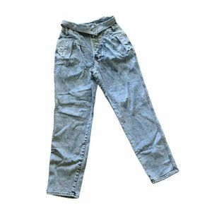 Express Tapered Ankle Super High Rise Button Fly Jeans Light Wash Denim Womens 4